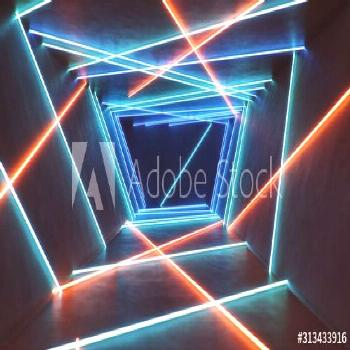 Abstract blue and red interior with neon light. Fluorescent lamp. Futuristic architecture backgroun