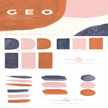 Abstract Shapes - Rust, Navy & Blush -  Abstract Shapes – Rust, Navy & Blush: Hand-painted shapes