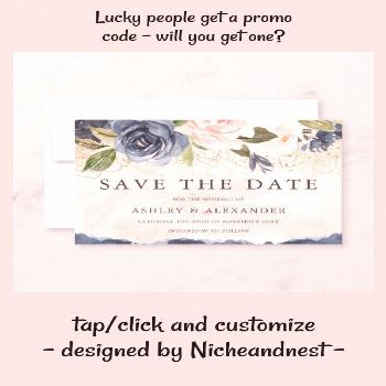 Beautiful Elegant Navy Floral Gold Blush Save The Date | #beautiful