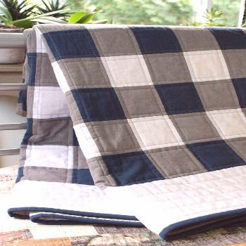 Buffalo Check, Plaid Organic Quilt; Navy, Gray, White Rustic Modern Patchwork Toddler, Throw Quilt;