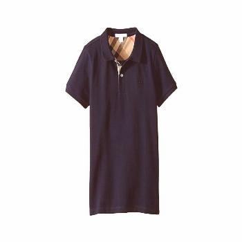 Burberry Kids Pique Polo (Little Kids/Big Kids) (True Navy) Boy's Short Sleeve Button Up. Tradition