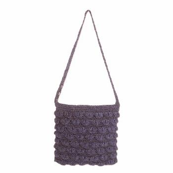 Crocheted shoulder bag, 'Summer Frill in Navy'