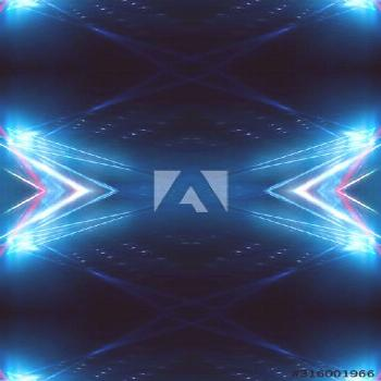 Dark abstract futuristic neon blue background. Neon lines glow. Neon lines, shapes. Multi-colored g