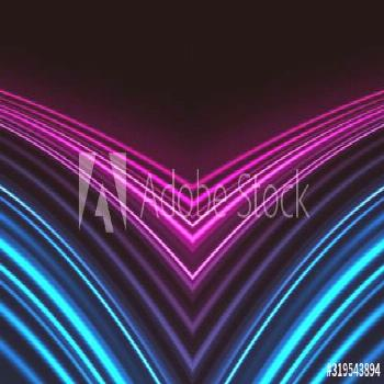 Dark background, blue and pink neon lines. Symmetric reflection of geometric shapes. ,