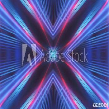 Dark background with lines and spotlights, neon light, night view. Abstract blue background. Blue d