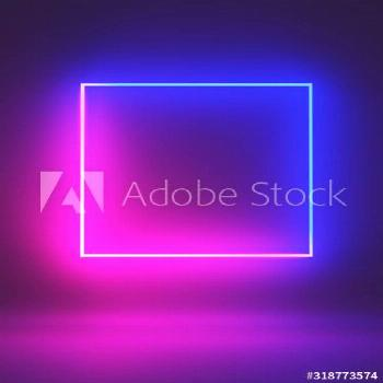 Futuristic Sci-Fi Neon Light Shapes in dark room With Empty Space For Text ,3D Illustration ,
