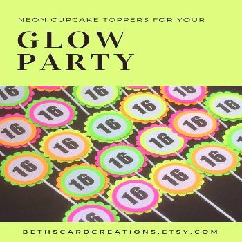 Glow Party Decorations / Black light/neon party toppers and tags