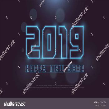 Happy New Year 2019 Technology neon line stroke font and alphabet with bokeh on abstract background