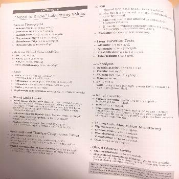 Lab values for NCLEX -