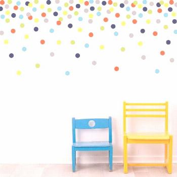 Mini Dot Wall Decals Confetti Polka Dots, Navy Orange Green Yellow Gray Blue, Eco-Friendly Removabl