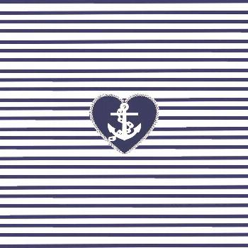 Modern navy blue white heart anchor nautical stripes Throw Pillow by Pink Water - Cover (16
