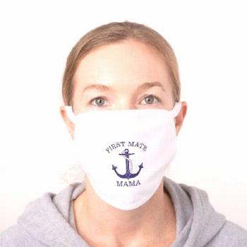 Nautical Navy Blue Anchor First Mate Mama Monogram Cotton Face Mask - tap to personalize and get yo