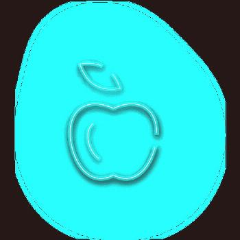 Neon blue apple icon ,
