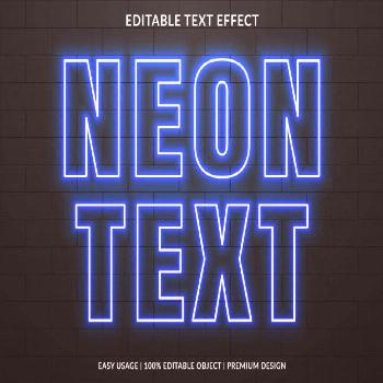 Neon text effect template with glowing s... | Premium Vector