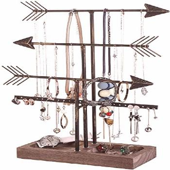 New Arrow Necklace Holder Jewelry Stand Necklace Stand Jewelry Organizer 3 Plus 1 Tier with Wood Tr