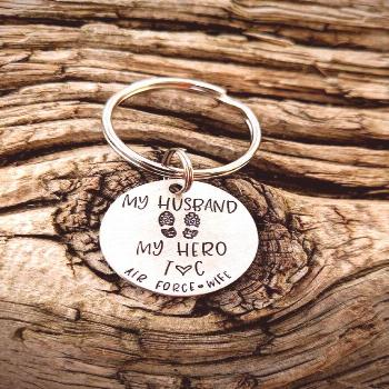 Personalized hand stamped air force wife keychain. Deployment gift for wife. Army wife gift. Navy w