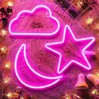 Pink Star Moon and Cloud Neon Signs Decorative LED Light Art