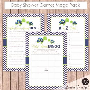 Sea turtle Baby Shower Game Pack - Lime and Navy- Baby Shower Activity Set- Shower Games Bingo- Pri