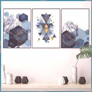 Set of 3 downloadable geometric abstract prints in navy blue with gold accents Printable trio match