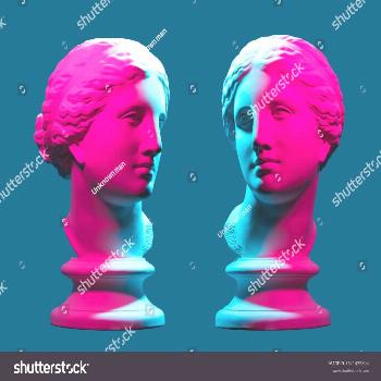 Statue neon. On a blue isolated background. Gypsum statue of Aphrodite's head. ,