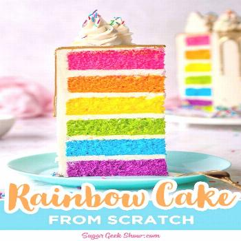 The best rainbow cake ever! Not only is this rainbow cake beautiful and colorful, but it also taste