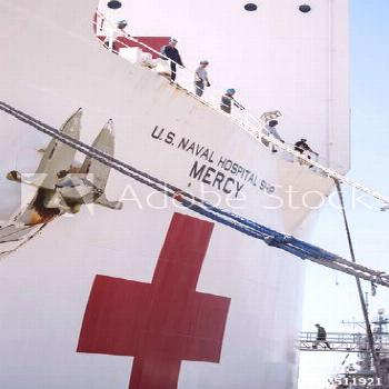 The USNS Mercy, a Navy hospital ship, departs the Naval Station San Diego ,