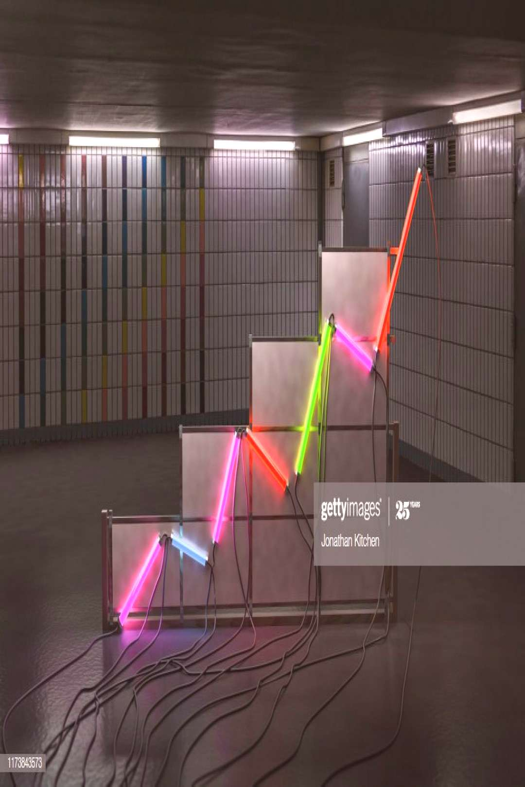 A Graph Made Of Neon Tubes In A Room Photography ,