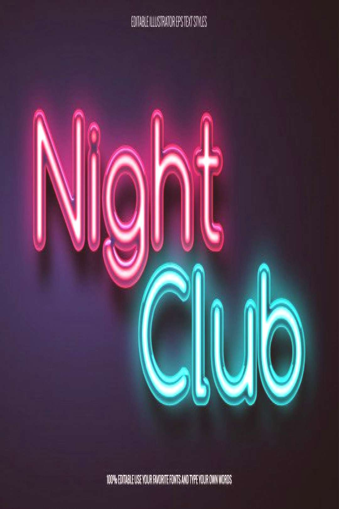Neon text effect for night club related ... | Premium Vector