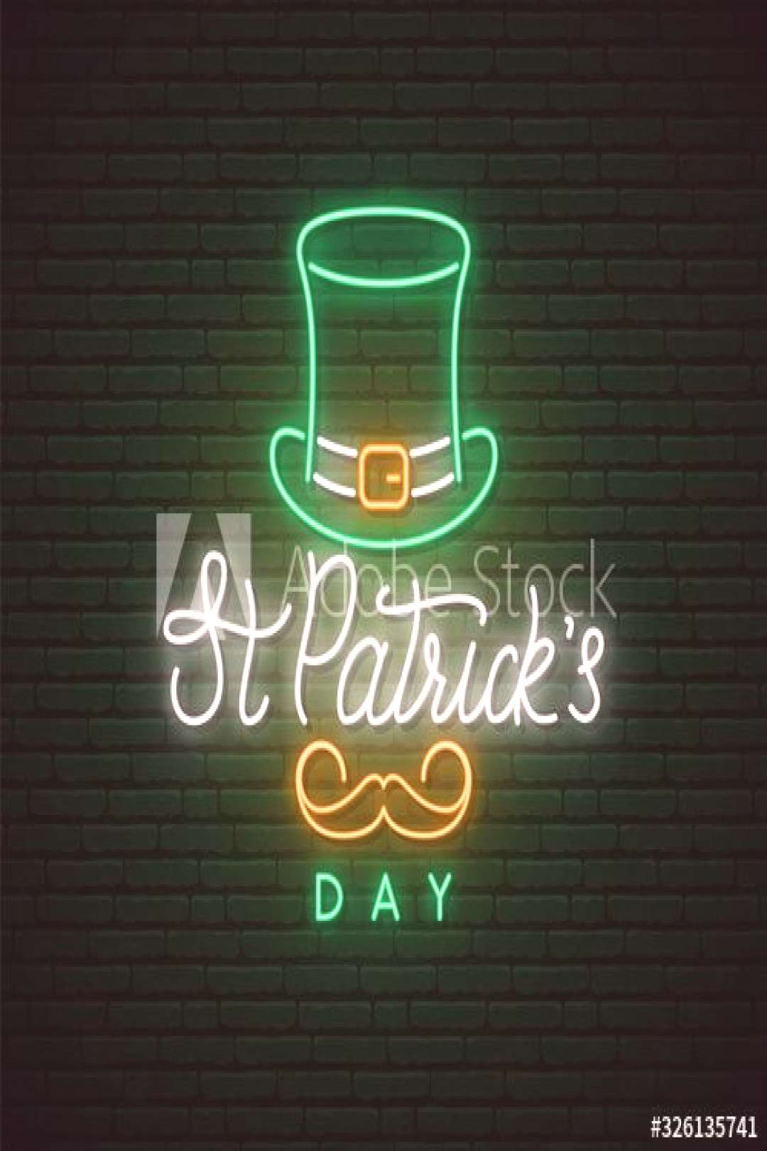 Saint Patrick¡¯s Day neon signboard. Vector design for web banner, logo, emblem and label. Bright