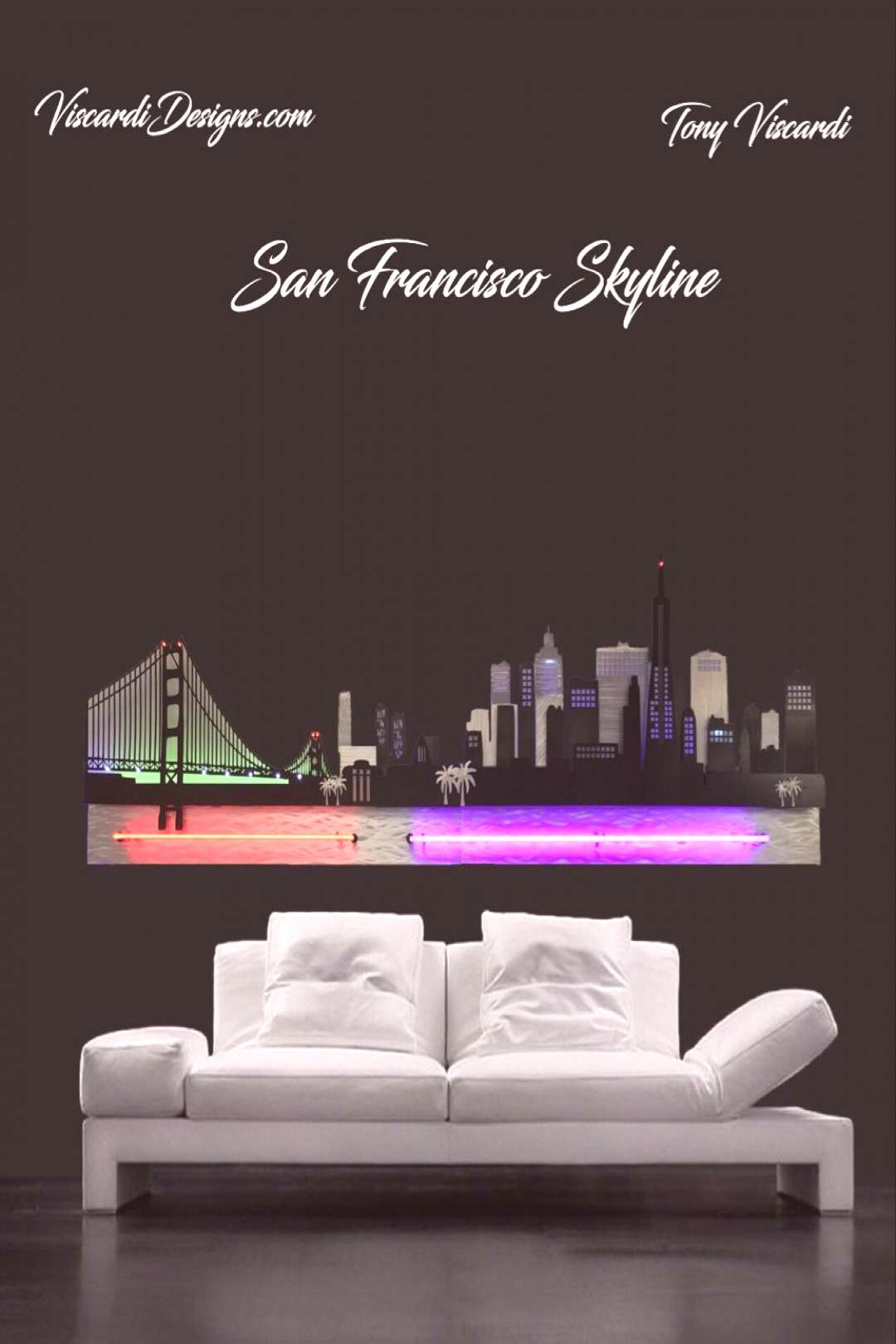San Francisco Skyline sculpture by artist Tony Viscardi San Francisco Skyline incorporates Neon and